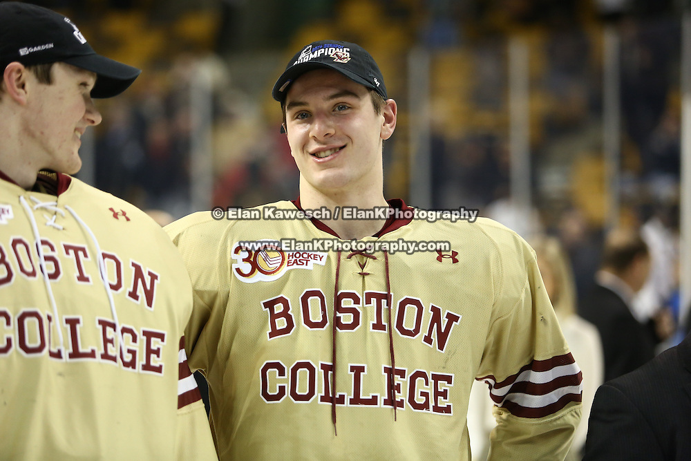 A Boston College hockey player is seen following The Beanpot Championship Game at TD Garden on February 10, 2014 in Boston, Massachusetts. (Photo by Elan Kawesch)