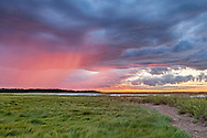 Glowing with sunset color, rain falls from the cloudsover the marsh at Quivet Creek