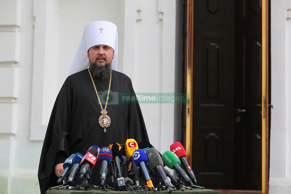 May 24, 2019 - Kiev, Ukraine - Metropolitan of the Orthodox Church of Ukraine Epiphanius of Kyiv and All Ukraine talks to media after the Synod in Kyiv, Ukraine, May 24, 2019. After the honorary Patriarch of the Orthodox Church of Ukraine, Filaret had expressed his desire to restore the structure of the liquidated Ukrainian Orthodox Church of the Kyiv Patriarchate, Metropolitan of the Orthodox Church of Ukraine Epiphanius of Kyiv and All Ukraine had to call for church Synod - Council of Orthodox Church of Ukraine. (Credit Image: © Sergii Kharchenko/NurPhoto via ZUMA Press)
