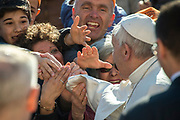 March 29, 2017: Pope Francis shakes hands with people upon arrival in St. Peter's square at the Vatican for his weekly general audience on March 29, 2017.  Antoine Mekary   Aleteia   I.Media