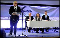 (L to R) Boris Johnson, Ken Livingstone, Jenny Jones, and Brian Paddick, during the Black Britain Mayoral Election Debate, London, UK, April 12, 2012. Photo By Andrew Parsons / i-Images.