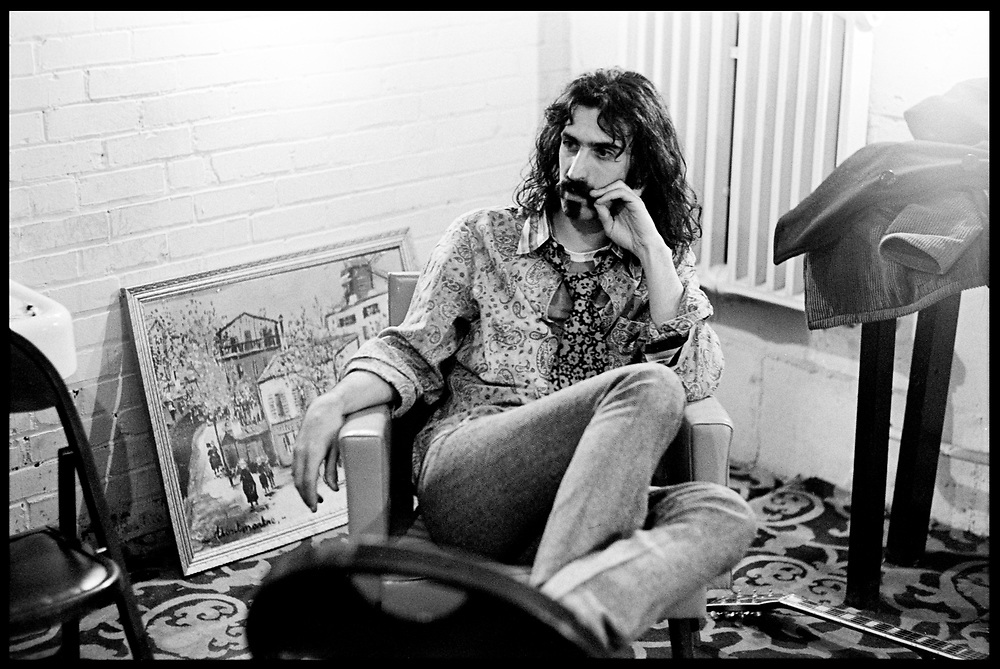 Fall River, Masachusetts - 18 February 1968. Frank Zappa of The Mothers of Invention backstage prior to a performance.