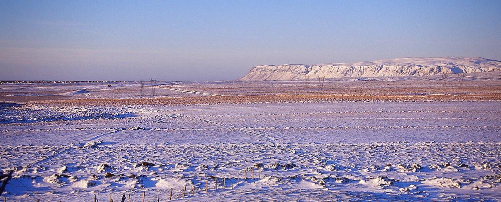 Horft frá Stóru-Borg að Ingólfsfjalli. Grímsneshreppur /.Looking at Mount. Ingolfsfjall from farm Stora-Borg