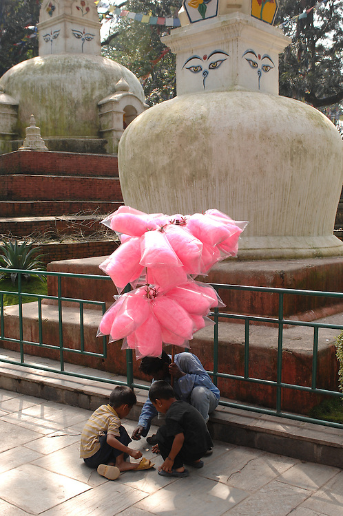 Boys selling cotton candy at Swayambhunath - the Monkey Temple - in Nepal.