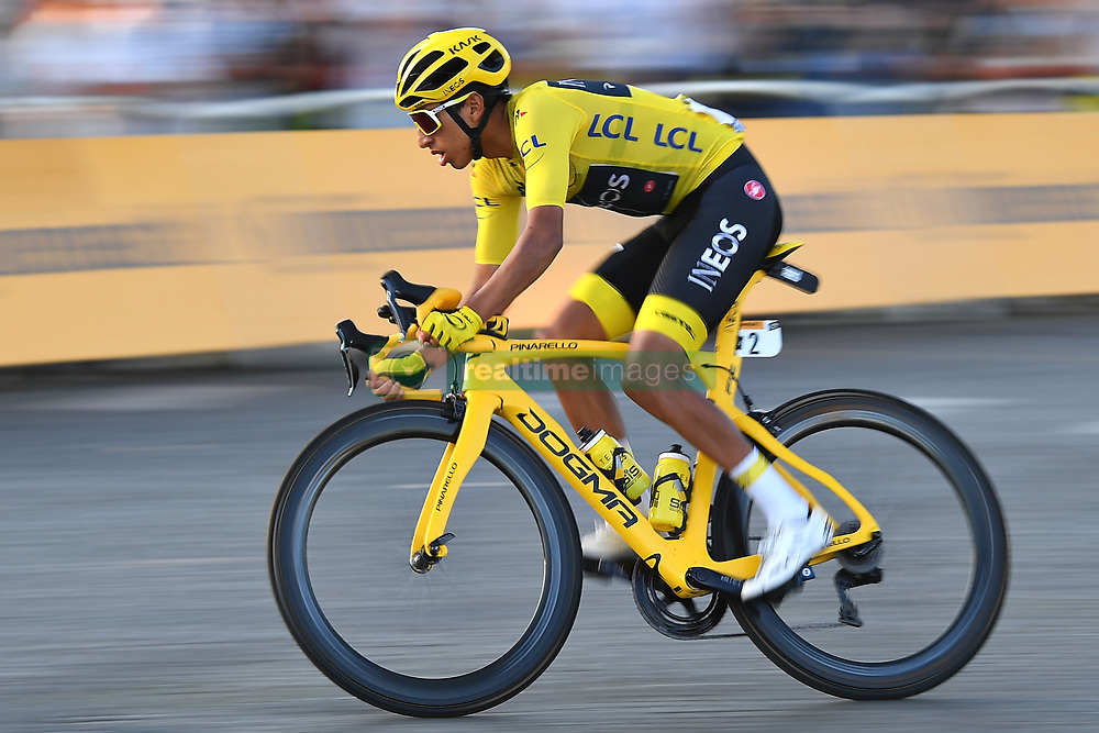 July 28, 2019, Paris, France: Race winner, Colombian rider EGAN BERNAL of Team INEOS on the Champs-Elysees during Stage 21 of the 106th edition of the 2019 Tour de France cycling race, the final stage of 128 kms between Rambouillet and the finish at Paris, Champs-Elysees. (Credit Image: © David Stockman/Belga via ZUMA Press)