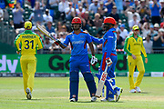 50 - Najibullah Zadran of Afghanistan celebrates scoring a half century during the ICC Cricket World Cup 2019 match between Afghanistan and Australia at the Bristol County Ground, Bristol, United Kingdom on 1 June 2019.
