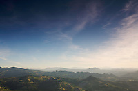View to the Apennines foothills (Italy) from the city of San Marino, San Marino.