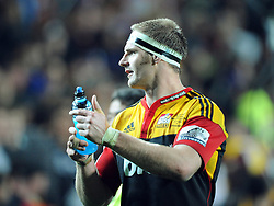 Chiefs captain Craig Clarke acknowledges the crowd after his teams defeat of the Crusaders in the Super 15 Rugby semi final match, Waikato Stadium, New Zealand, Friday, July 27, 2012. Credit:SNPA / Ross Setford