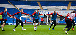 CARDIFF, WALES - Thursday, November 15, 2018: Wales' Paul Dummett, Tom Lawrence and captain Ashley Williams during a training session at the Cardiff City Stadium ahead of the UEFA Nations League Group Stage League B Group 4 match between Wales and Denmark. (Pic by David Rawcliffe/Propaganda)