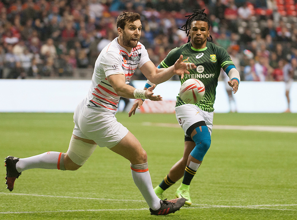 Charlie Hayter passes the ball as England go on to win the cup at the 2017 Canada Sevens  Round Six of the World Rugby HSBC Sevens Series in Vancouver, British Columbia, Sunday March 12, 2017. <br /> <br /> Jack Megaw.<br /> <br /> www.jackmegaw.com<br /> <br /> jack@jackmegaw.com<br /> @jackmegawphoto<br /> [US] +1 610.764.3094<br /> [UK] +44 07481 764811