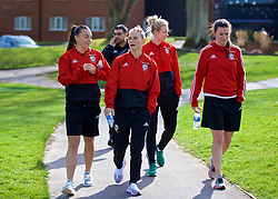 SOUTHAMPTON, ENGLAND - Friday, April 6, 2018: Wales' Natasha Harding, Jessica Fishlock, Rhiannon Roberts and Helen Ward during a pre-match walk at the Marriott Meon Valley Hotel & Country Club ahead of the FIFA Women's World Cup 2019 Qualifying Round Group 1 match between England and Wales. (Pic by David Rawcliffe/Propaganda)