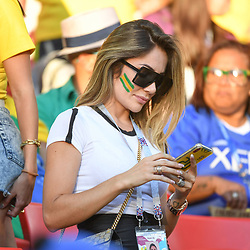 Larissa Pereira wife of Roberto Firmino during the FIFA World Cup Group E match between Serbia and Brazil on June 27, 2018 in Moscow, Russia. (Photo by Anthony Dibon/Icon Sport)