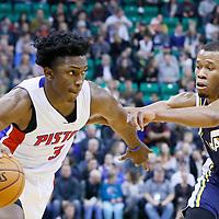 25 January 2016: Detroit Pistons forward Stanley Johnson (3) drives past Utah Jazz guard Rodney Hood (5) during the Detroit Pistons 95-92 victory over the Utah Jazz, at the Vivint Smart Home Arena, Salt Lake City, Utah, USA.