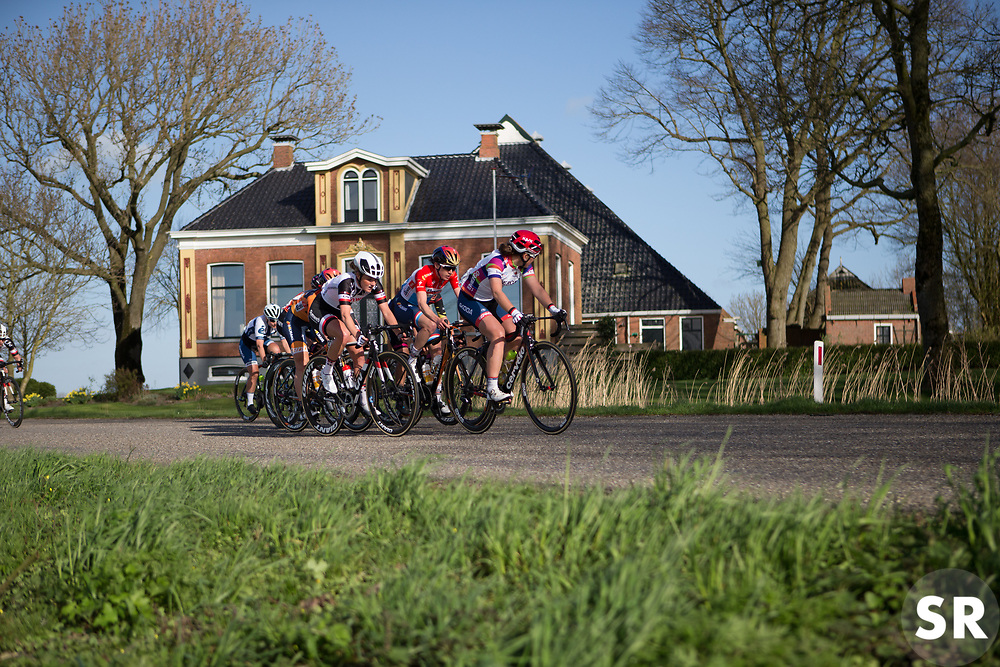Lisa Klein (GER) of Cervélo-Bigla Cycling Team looks back in the penultimate lap of Stage 1b of the Healthy Ageing Tour - a 77.6 km road race, starting and finishing in Grijpskerk on April 5, 2017, in Groeningen, Netherlands.