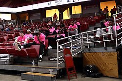 05 February 2016: Illinois State Men's basketball players wear pink T's in support of Play 4 Kay. Illinois State University Women's Redbird Basketball team hosted the Sycamores of Indiana State for a Play4 Kay game at Redbird Arena in Normal Illinois.