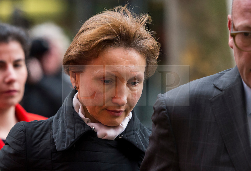 """©  London News Pictures. 28/01/2016. London, UK. MARINA LITVINENKO, wife of murdered Russian agent Alexander Litvinenko, leaving The Home Office in London following private talks with British home secretary Theresa May. The meeting comes a week after an official inquiry into her husband's death concluded that his killing was """"probably approved"""" by Russian president Vladimir Putin. Photo credit: Ben Cawthra/LNP"""