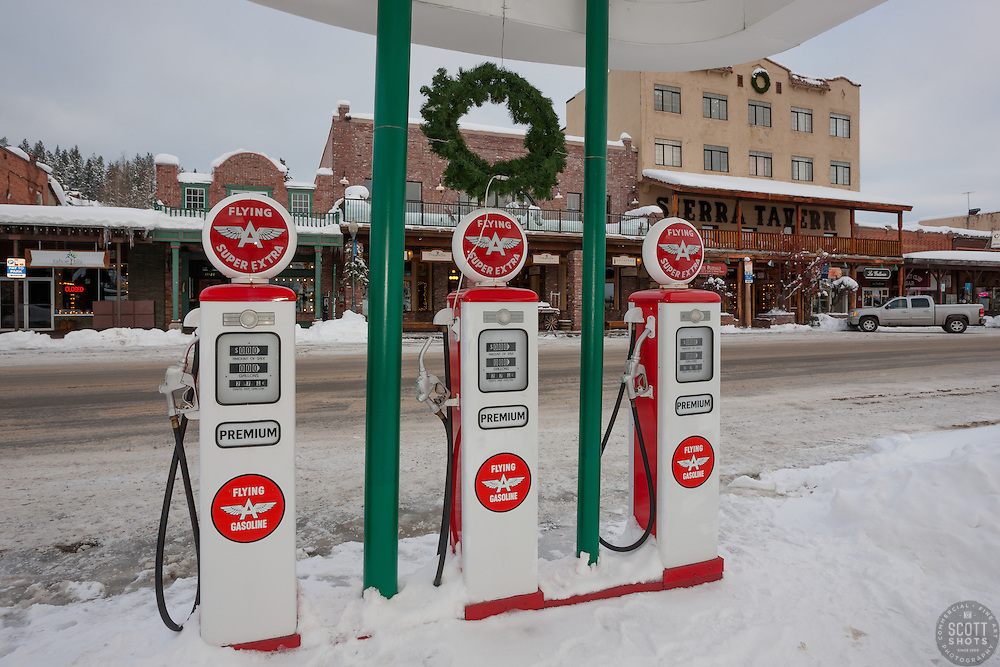 """""""Snowy Flying A in Truckee 4"""" - This snow covered replica of a Flying A gas station was photographed in the early morning in Downtown Truckee, California."""
