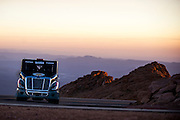 June 26-30 - Pikes Peak Colorado. Mike Ryan runs his freight liner truck during practice for the 91st running of the Pikes Peak Hill Climb.