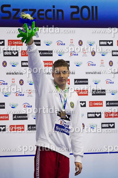 11.12.2011, Stettin, POL, Kurzbahn Schwimm EM, im Bild KONRAD CZERNIAK BRAZOWY MEDAL 50 M BUTTERFLY // during European Swimming Short Course Championships Szczecin, Poland on 2011/12/11. EXPA Pictures © 2011, PhotoCredit: EXPA/ Newspix/ Sebastian Borowski..***** ATTENTION - for AUT, SLO, CRO, SRB, SUI and SWE only *****