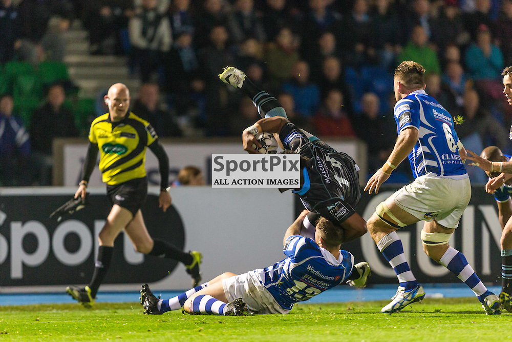 Taqele Naiyaravoro is tackled by Ross Wardle during the Guinness Pro 12 match between Glasgow Warriors and Newport Dragons (c) ROSS EAGLESHAM   Sportpix.co.uk