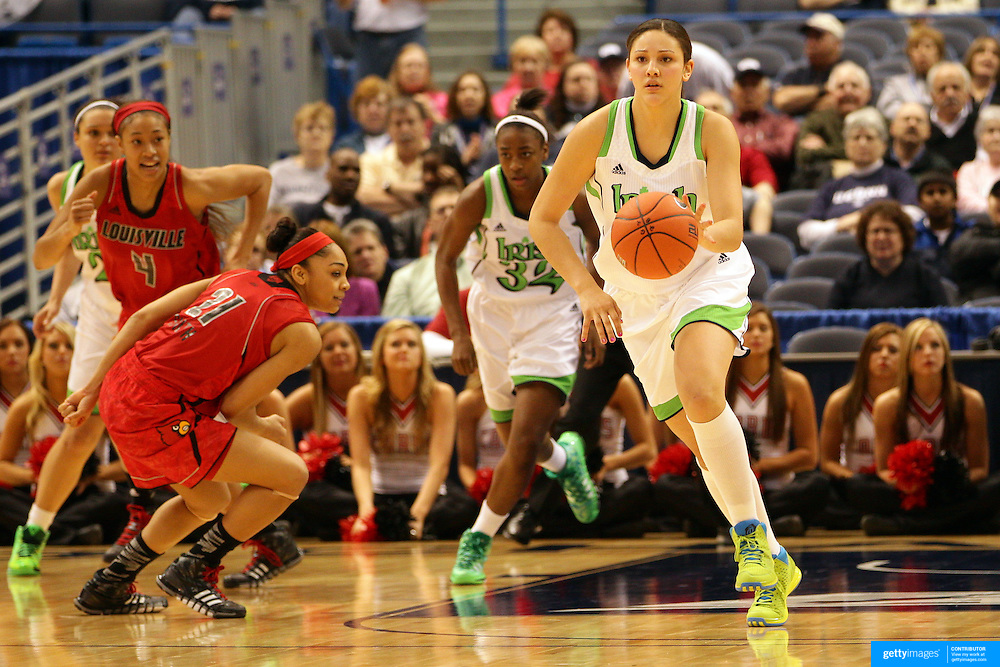 Natalie Achonwa, Notre Dame, in action during the Notre Dame Fighting Irish V Louisville Cardinals Semi Final match during the Big East Conference, 2013 Women's Basketball Championships at the XL Center, Hartford, Connecticut, USA. 11th March. Photo Tim Clayton