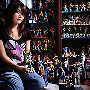 Uchimura Amika, known as Lita to friends, is a 28-year-old housewife and graphic designer in Osaka. She used to be the lead vocalist in a band, and has the tattoos to prove it. Now her room is filled up with manga, books on Japanese monsters and hundreds of character figurines. Most are just for display, but some make their way into the hands of Uchimura's six-year-old daughter.