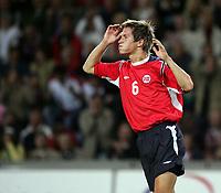 Fotball<br /> VM-kvalifisering<br /> Norge v Hviterussland<br /> Ullevaal stadion<br /> 8. september 2004<br /> Foto: Digitalsport<br /> Morten Gamst Pedersen, Norge