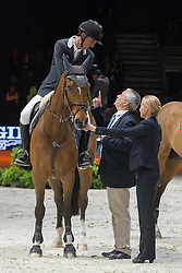 Guerdat Steve (SUI) - Nino des Buissonnets<br /> De Vos Ingmar (BEL)<br /> Longines FEI World Cup™ Jumping Final 2013/2014<br /> Lyon 2014<br /> © Dirk Caremans