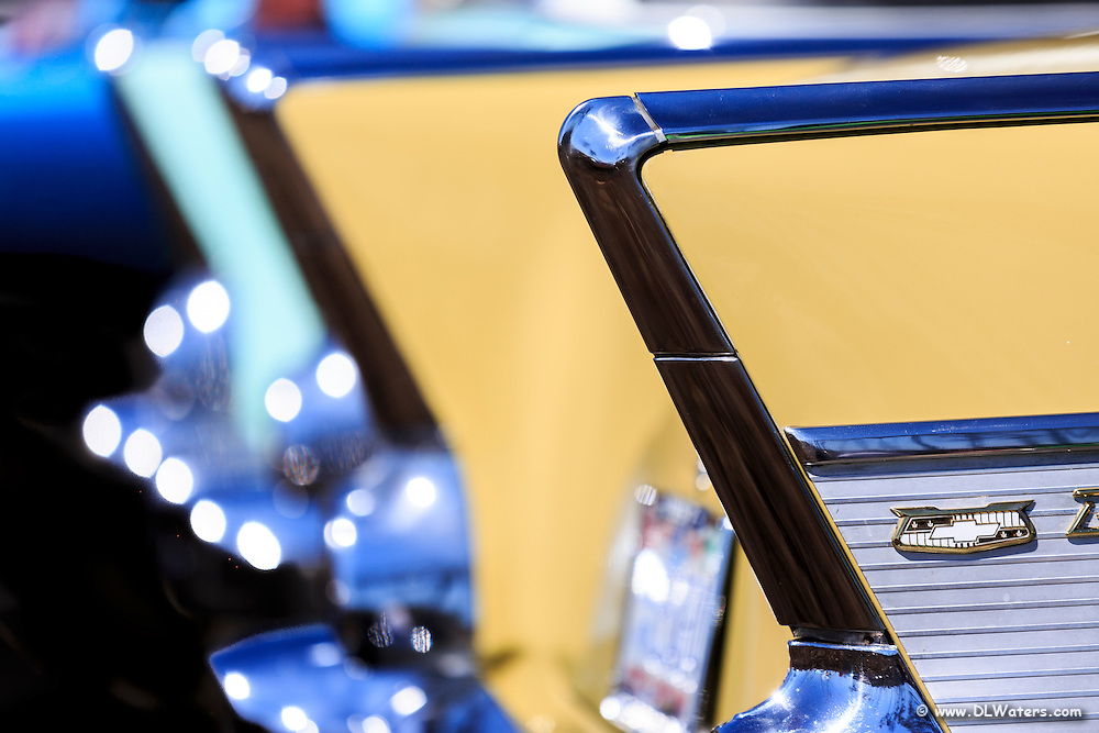 I usedselective focusing on these antique Chevy car tail fins.