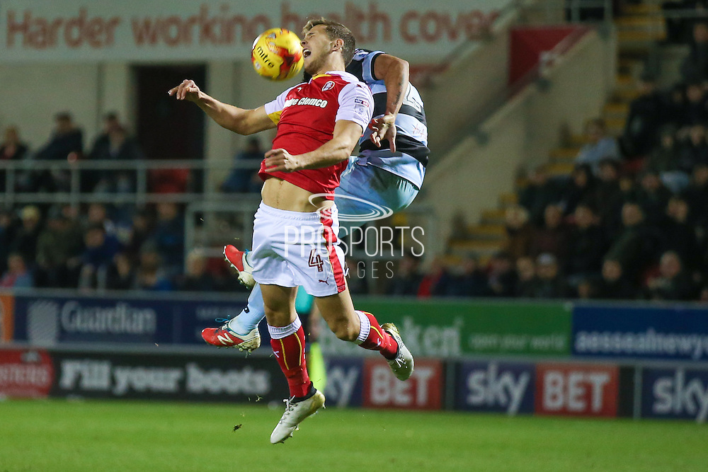 Rotherham United midfielder Will Vaulks (4) feels the challenge from Queens Park Rangers  midfielder Massimo Luongo (21)  during the EFL Sky Bet Championship match between Rotherham United and Queens Park Rangers at the New York Stadium, Rotherham, England on 10 December 2016. Photo by Simon Davies.
