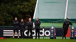 CARDIFF, WALES - Sunday, October 14, 2018: Wales' staff head of performance Tony Strudwick, masseur Chris Senior, physiotherapist Paul Harris, physiotherapist James Haycock, Ronan Kavanagh during a training session at the Vale Resort ahead of the UEFA Nations League Group Stage League B Group 4 match between Republic of Ireland and Wales. (Pic by David Rawcliffe/Propaganda)