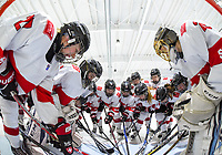 DMITROV, RUSSIA - JANUARY 9: Switzerland players get set to take on Germany during preliminary round action at the 2018 IIHF Ice Hockey U18 Women's World Championship. (Photo by Steve Kingsman/HHOF-IIHF Images)