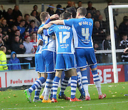 Nathaniel Mendez-Laing celebrations during the The FA Cup match between Rochdale and Swindon Town at Spotland, Rochdale, England on 7 November 2015. Photo by Daniel Youngs.