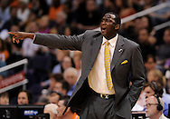 Mar. 14, 2012; Phoenix, AZ, USA;  Utah Jazz head coach Tyrone Corbin reacts from the sidelines during a game against the Phoenix Suns during the first half at the US Airways Center.  The Suns defeated the Jazz 120-111. Mandatory Credit: Jennifer Stewart-US PRESSWIRE.