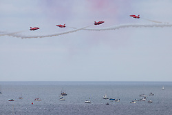 © Licensed to London News Pictures. 14/08/2018. Falmouth, UK. The Red Arrows perform a display as part of Falmouth Week in Cornwall. Large crowds are expected, as 45,000 people watched last year. Photo credit : Tom Nicholson/LNP