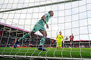 Goal - Pierre-Emerick Aubameyang (14) of Arsenal celebrates scoring the winning goal to make the score 1-2 during the Premier League match between Bournemouth and Arsenal at the Vitality Stadium, Bournemouth, England on 25 November 2018.