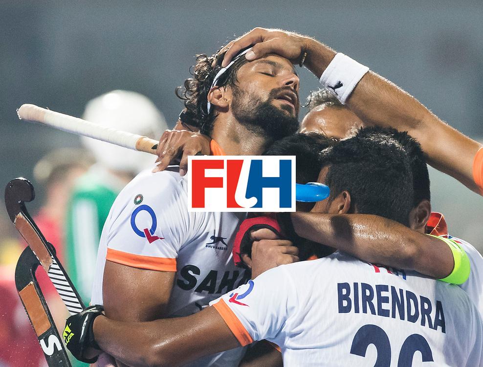 BHUBANESWAR - The Odisha Men's Hockey World League Final . Match ID 06 . India v England (2-3).  Rupinder Pal Singh (Ind) scored 2-2.     WORLDSPORTPICS COPYRIGHT  KOEN SUYK