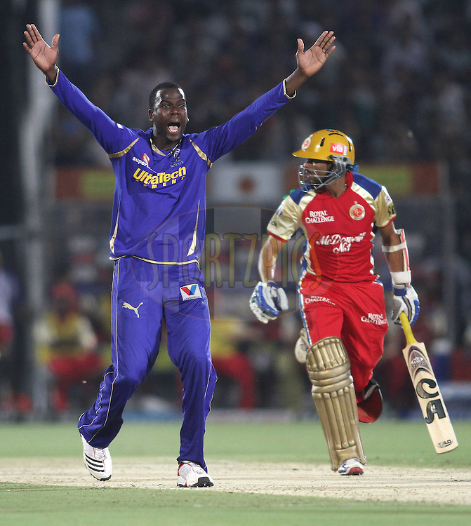 Kevon Cooper of the Rajasthan Royals appeals unsuccessfully during match 30 of the the Indian Premier League (IPL) 2012  between The Rajasthan Royals and the Royal Challengers Bangalore held at the Sawai Mansingh Stadium in Jaipur on the 23rd April 2012..Photo by Shaun Roy/IPL/SPORTZPICS