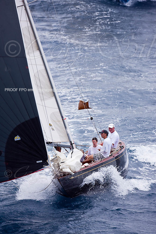 Nada sailing in the 2010 Antigua Classic Yacht Regatta, Butterfly Race, day 2.