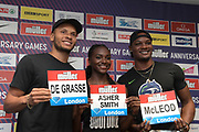 Andre De Grasse (CAN), Dina Asher-Smith (GBR) and Omar McLeod (JAM)  at a press conference prior to the London Anniversary Games, Friday, July 19, 2019, in London, United Kingdom.
