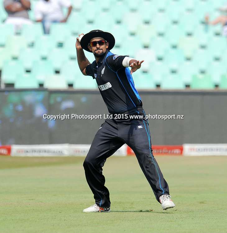 Ish Sodhi of New Zealand during the One Day International Series match between South Africa and New Zealand at the Kingsmead Stadium, Durban on the 26th of August 2015<br /> &copy;Muzi Ntombela/BackpagePix