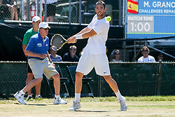 July 20, 2018 - Newport, RI, U.S. - NEWPORT, RI - JULY 20: Adrian Mannarino (FRA) returns to Marcel Granollers (SPA) during their quarterfinal match up of the Dell Technologies Hall of Fame Open at the International Tennis Hall of Fame in Newport, Rhode Island on July 20, 2018. Granollers won the match 6-3, 6-1 and advanced to the semifinals. (Photo by Andrew Snook/Icon Sportswire) (Credit Image: © Andrew Snook/Icon SMI via ZUMA Press)