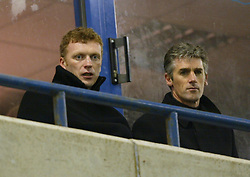 WIDNES, ENGLAND - Tuesday, March 11, 2003: Everton's manager David Moyes and assistant Alan Irvine watch Wayne Rooney in action for the reserves against West Brom Reserves in the Premier Reserve League (Northern Division) at the Halton Stadium. (Pic by David Rawcliffe/Propaganda)