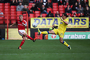 Chris Solly of Charlton Athletic and Egli Kaja of AFC Wimbledon during the EFL Sky Bet League 1 match between Charlton Athletic and AFC Wimbledon at The Valley, London, England on 28 October 2017. Photo by Toyin Oshodi.