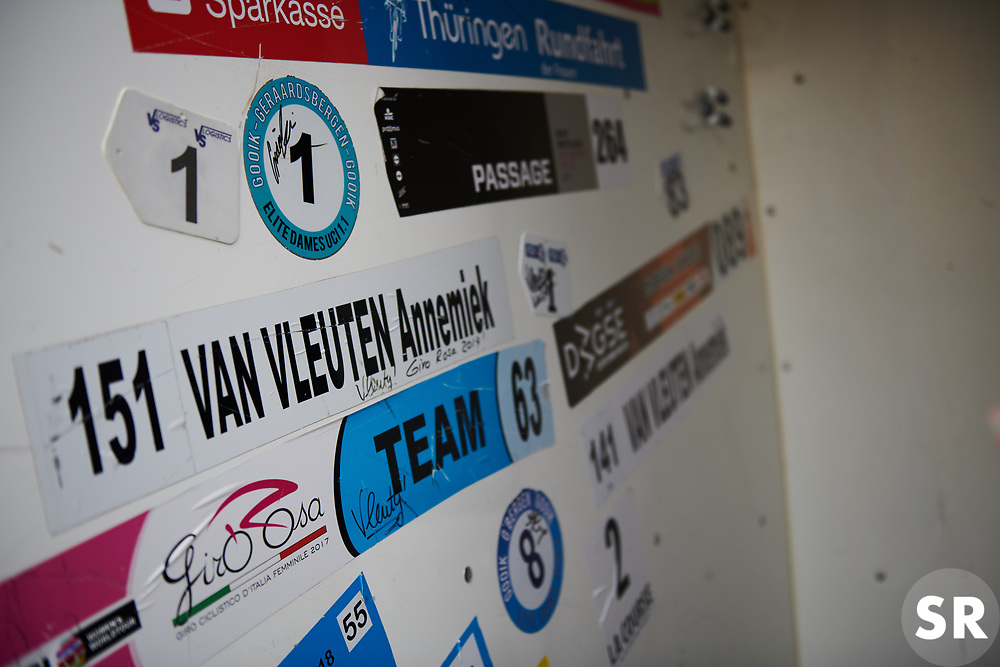 Old race stickers in the Mitchelton Scott van at Ladies Tour of Norway 2018 Team Time Trial, a 24 km team time trial from Aremark to Halden, Norway on August 16, 2018. Photo by Sean Robinson/velofocus.com