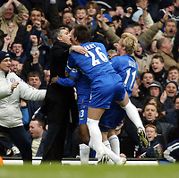 Photo: Chris Ratcliffe.<br />Chelsea v Tottenham Hotspur. The Barclays Premiership. 11/03/2006.<br />Jose Mourinho celebrates with goalscorer William Gallas (obscured) and John Terry and Damien Duff.