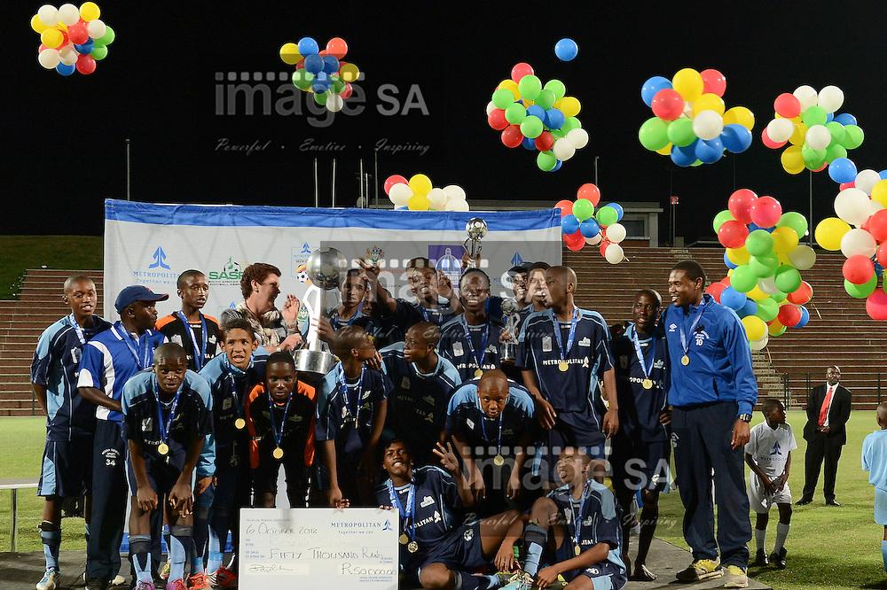 DURBAN, SOUTH AFRICA - OCTOBER 06,  during the Metropolitan SASFA U/16 Cup final match between Robinvale and Rosina Sedibane at Kings Zwelithini Stadium on October 06, 2012 in Durban, South Africa.Photo by Roger Sedres / Image SA / Gallo Images