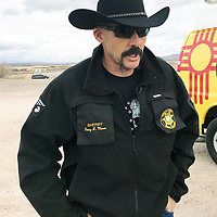Cibola County Sheriff Tony Mace addresses the media Thursday afternoon at a news conference in Bluewater Village. The sheriff shared details of a deputy-involved shooting involving a suspect who had a warrant out for his arrest.