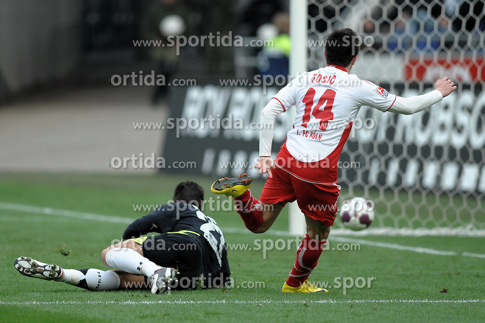 27.03.2010, AWD Arena, Hannover, GER, 1.FBL, Hannover 96 vs 1.FC Koeln, im Bild Zoran Tosic (Koeln #14) schiesst das 4-0 vorbei an Florian Fromlowitz (Hannover #27) EXPA Pictures © 2010, PhotoCredit: EXPA/ nph/  Witke / SPORTIDA PHOTO AGENCY