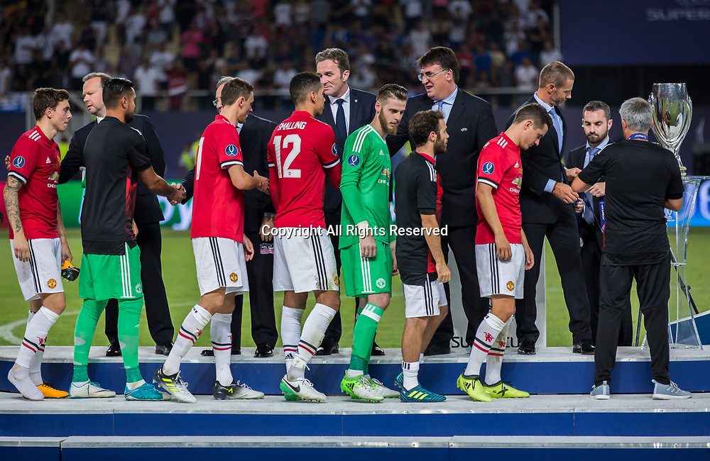 August 8th 2017, Philip II National Arena, Skopje, Macedonia; 2017 UEFA Super Cup; Real Madrid versus Manchester United; Losing players of Manchester United during the medal ceremony after Super cup match